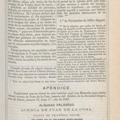 Algunas palabras acerca de Juan de la Cosa, piloto de Cristóbal Colón así como de su célebre mapamundi. Por M. de la Roquette, Vicepresidente de la Comisión Central de la Sociedad de Geografía. Memoria (que traducimos) acerca de Juan de la Cosa, tomada del Boletín de la Sociedad Geográfica de París, número 17, tomo 3º, año de 1862.
